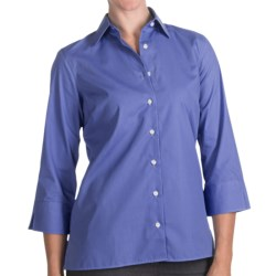 Broadcloth Shirt - Wrinkle Resistant, 3/4 Sleeve (For Women) in French Blue