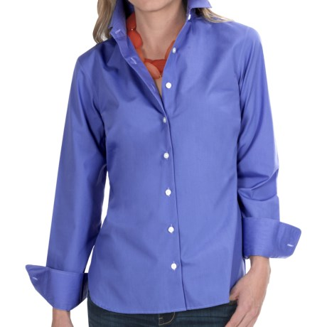 Broadcloth Shirt - Wrinkle Resistant, Long Sleeve (For Women) in French Blue