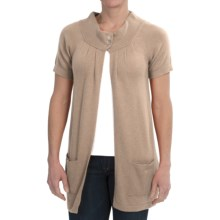 Brodie Cashmere Cardigan Sweater - Short Sleeve (For Women) in Champagne - Closeouts