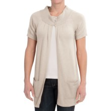 Brodie Cashmere Cardigan Sweater - Short Sleeve (For Women) in Milk - Closeouts