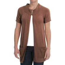 Brodie Cashmere Cardigan Sweater - Short Sleeve (For Women) in Mocha - Closeouts