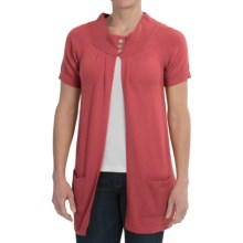 Brodie Cashmere Cardigan Sweater - Short Sleeve (For Women) in Winter Coral - Closeouts