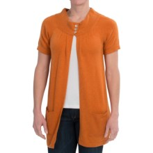 Brodie Cashmere Cardigan Sweater - Short Sleeve (For Women) in Winter Spice - Closeouts