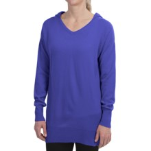 Brodie Cashmere Hoodie Sweater - V-Neck (For Women) in Royal Blue - Closeouts