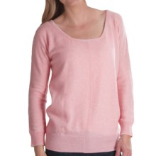 Brodie Lace Back Cashmere Sweater - Relaxed Fit (For Women) in Pink Blossom - Closeouts
