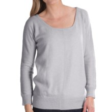 Brodie Lace Back Cashmere Sweater - Relaxed Fit (For Women) in Silver Grey - Closeouts