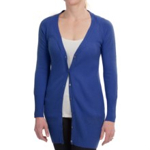 Brodie Long Fitted Cashmere Cardigan Sweater (For Women) in Royal Blue - Closeouts