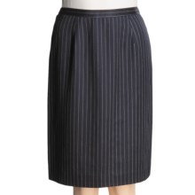 Broken Stripe Slim Skirt - Knee Length (For Women) in Navy - 2nds