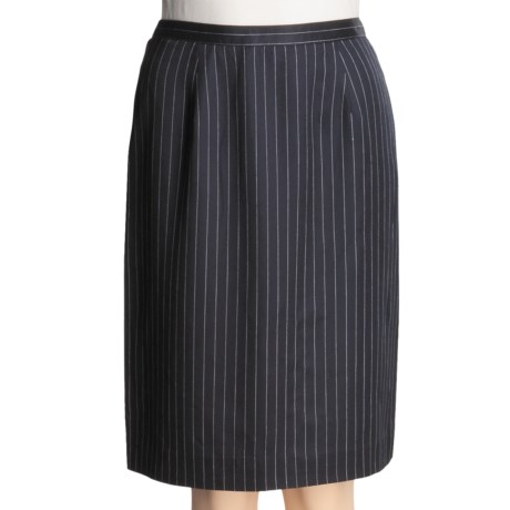 Broken Stripe Slim Skirt - Knee Length (For Women) in Navy