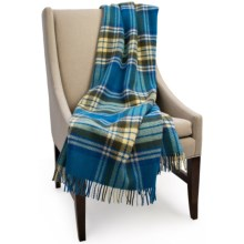 "Bronte by Moon Benningborough Check New Wool Throw Blanket - 55x72"" in Lemon/Royal/Olive - Closeouts"