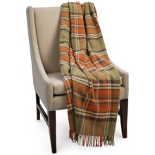 Bronte by Moon Benningborough Check New Wool Throw Blanket in Hunting - Closeouts