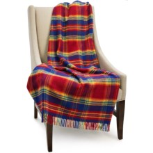 Bronte by Moon Block Check New Wool Throw Blanket in Red/Blue/Gold/Orange - Closeouts
