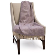 "Bronte by Moon Herringbone New Shetland Wool Throw Blanket - 55x72"" in Mauve - Closeouts"