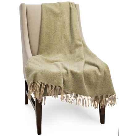 """Bronte by Moon Herringbone New Shetland Wool Throw Blanket - 55x72"""" in Sage - Closeouts"""