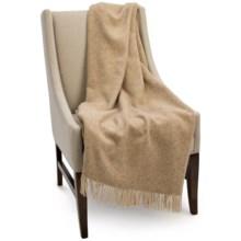 Bronte by Moon Herringbone New Shetland Wool Throw Blanket in Natural - Closeouts