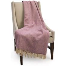 Bronte by Moon Herringbone New Shetland Wool Throw Blanket in Rose - Closeouts