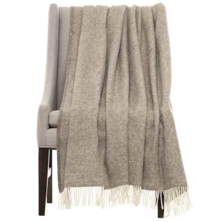 Bronte by Moon Herringbone Throw Blanket - New Wool in Beige - Closeouts