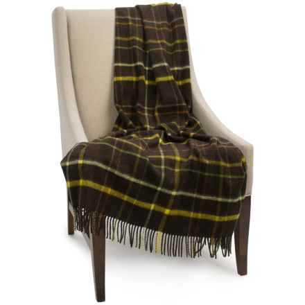 """Bronte by Moon Lambswool Plaid Throw Blanket - 55x72"""" in Chocolate - Closeouts"""