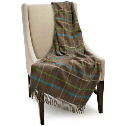 """Bronte by Moon Lambswool Plaid Throw Blanket - 55x72"""" in Mocha - Closeouts"""