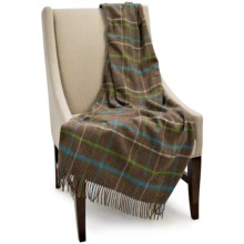 Bronte by Moon Lambswool Plaid Throw Blanket in Mocha - Closeouts