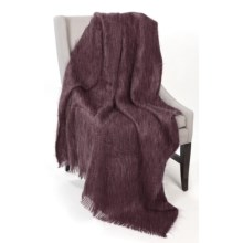 Bronte by Moon Mohair-Wool Throw Blanket in Plum - Closeouts