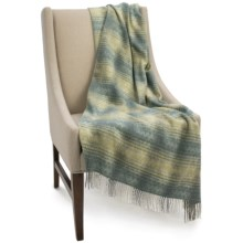 Bronte by Moon Ombre Herringbone Lambswool Throw Blanket in Green - Closeouts