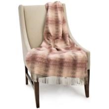 Bronte by Moon Ombre Herringbone Lambswool Throw Blanket in Pink - Closeouts