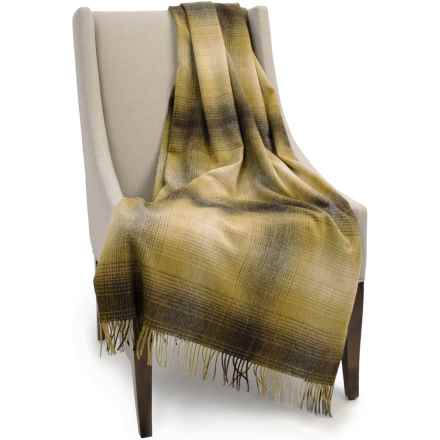 """Bronte by Moon Ombre Lambswool Throw Blanket - 55x72"""" in Old Gold - Closeouts"""