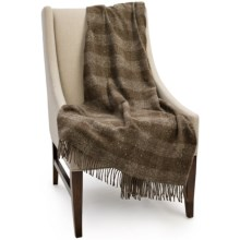 Bronte by Moon Skye Check New Wool Throw Blanket in Brown Check - Closeouts