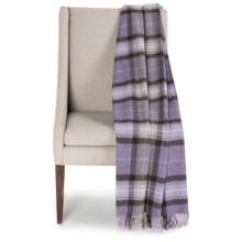 Bronte by Moon Skye Check New Wool Throw Blanket in Lavender - Closeouts