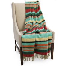Bronte by Moon Striped New Wool Throw Blanket in Red / Green / Aqua - Closeouts