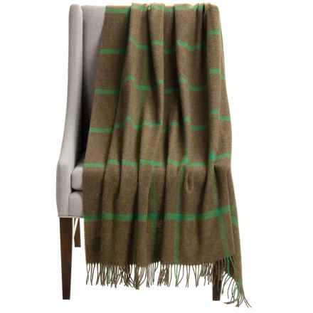 "Bronte by Moon Windowpane Brown Wool Throw Blanket - 55x72"" in Light Brown/Kelly Green - Closeouts"