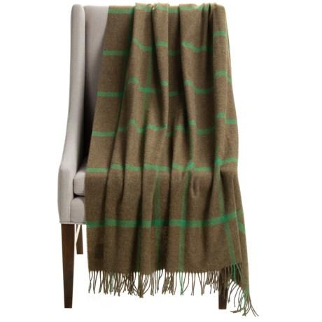 """Bronte by Moon Windowpane Brown Wool Throw Blanket - 55x72"""""""