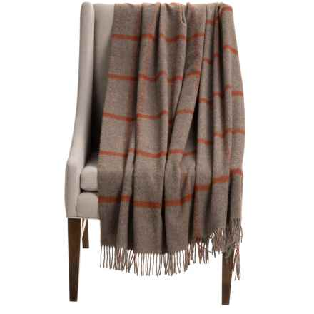 "Bronte by Moon Windowpane Brown Wool Throw Blanket - 55x72"" in Light Brown/Rust - Closeouts"