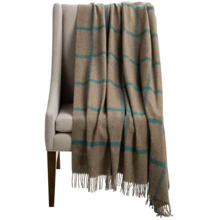 "Bronte by Moon Windowpane Throw Blanket - Merino Wool, 55x72"" in Fawn/Blue - Closeouts"