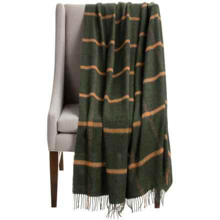 "Bronte by Moon Windowpane Throw Blanket - Merino Wool, 55x72"" in Olive/Orange - Closeouts"