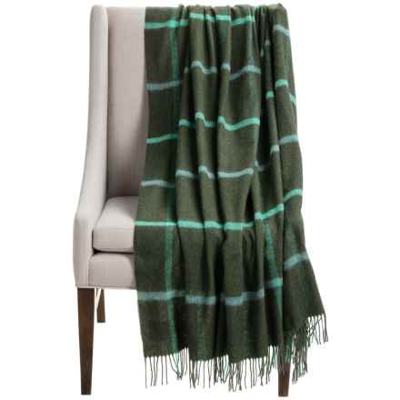 """Bronte by Moon Windowpane Throw Blanket - Merino Wool, 55x72"""" in Olive/Turquoise - Closeouts"""