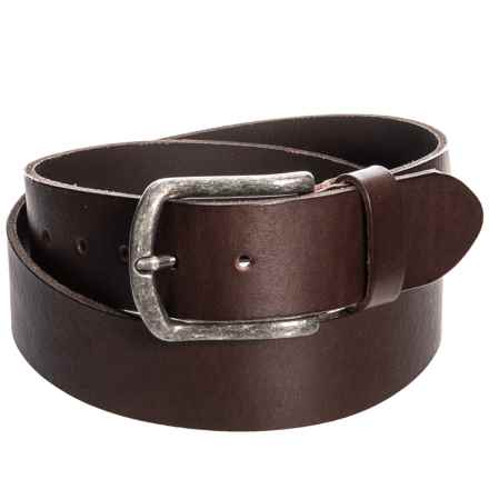 Bronzino Raw-Edge Leather Belt (For Men) in Dark Brown - Closeouts