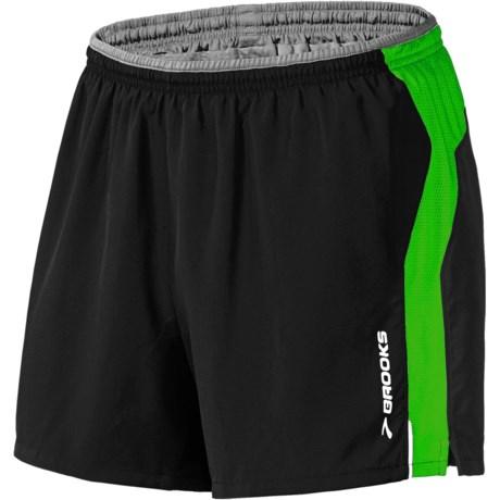 "Brooks 5"" Essential Run Shorts (For Men) in Black/Fern"