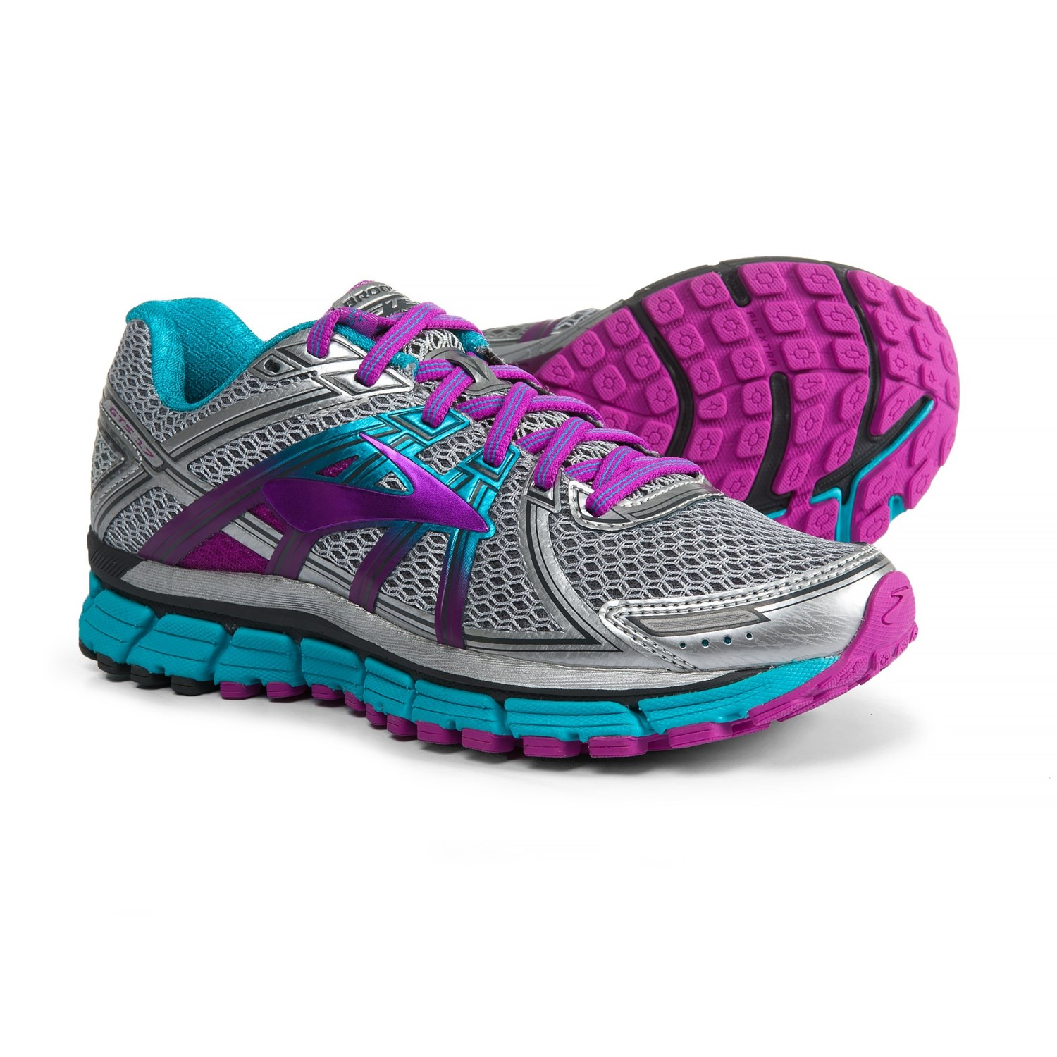 4e2a5d72789 Brooks Adrenaline GTS 17 Running Shoes (For Women) in Silver Purple Cactus  Flower