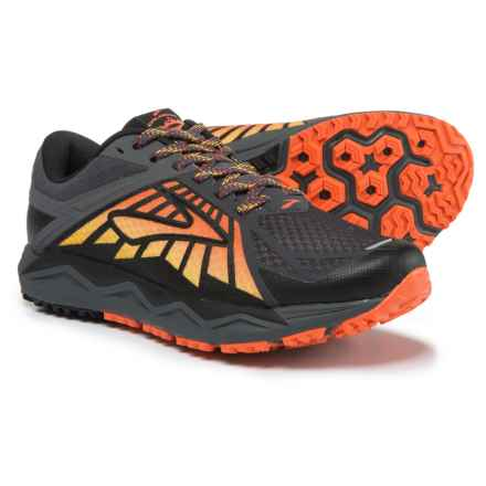 Brooks Caldera Trail Running Shoes (For Men) in Anthracite/Red Orange/Black - Closeouts