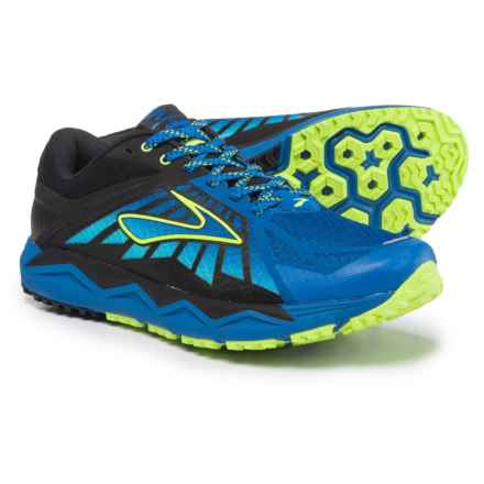 Brooks Caldera Trail Running Shoes (For Men) in Electric Brooks Blue/Lime Popsicle/Blue Fish - Closeouts