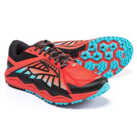 Brooks Caldera Trail Running Shoes (For Men) in High Risk Red/Black/Aquarius - Closeouts
