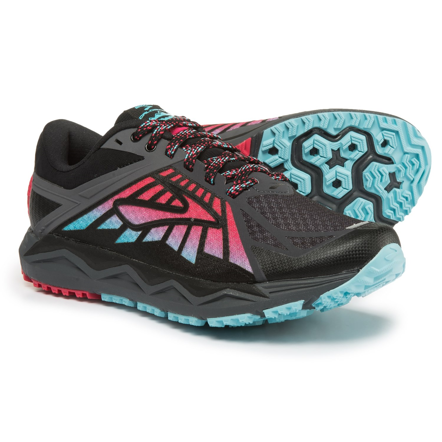 Brooks Caldera Trail Running Shoes (For Women) in Anthracite/Azalea/Black