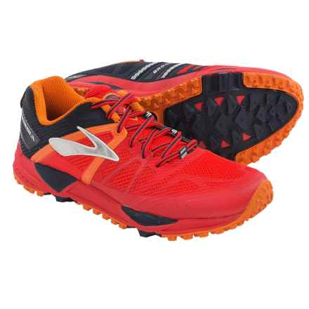 Brooks Cascadia 10 Trail Running Shoes (For Men) in High Risk Red/Satsuma/Black Iris - Closeouts