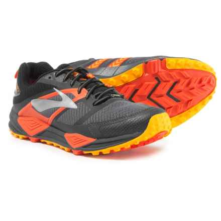 Brooks Cascadia 12 Gore-Tex® Trail Running Shoes - Waterproof (For Men) in Black/Ebony/Cherry Tomato - Closeouts