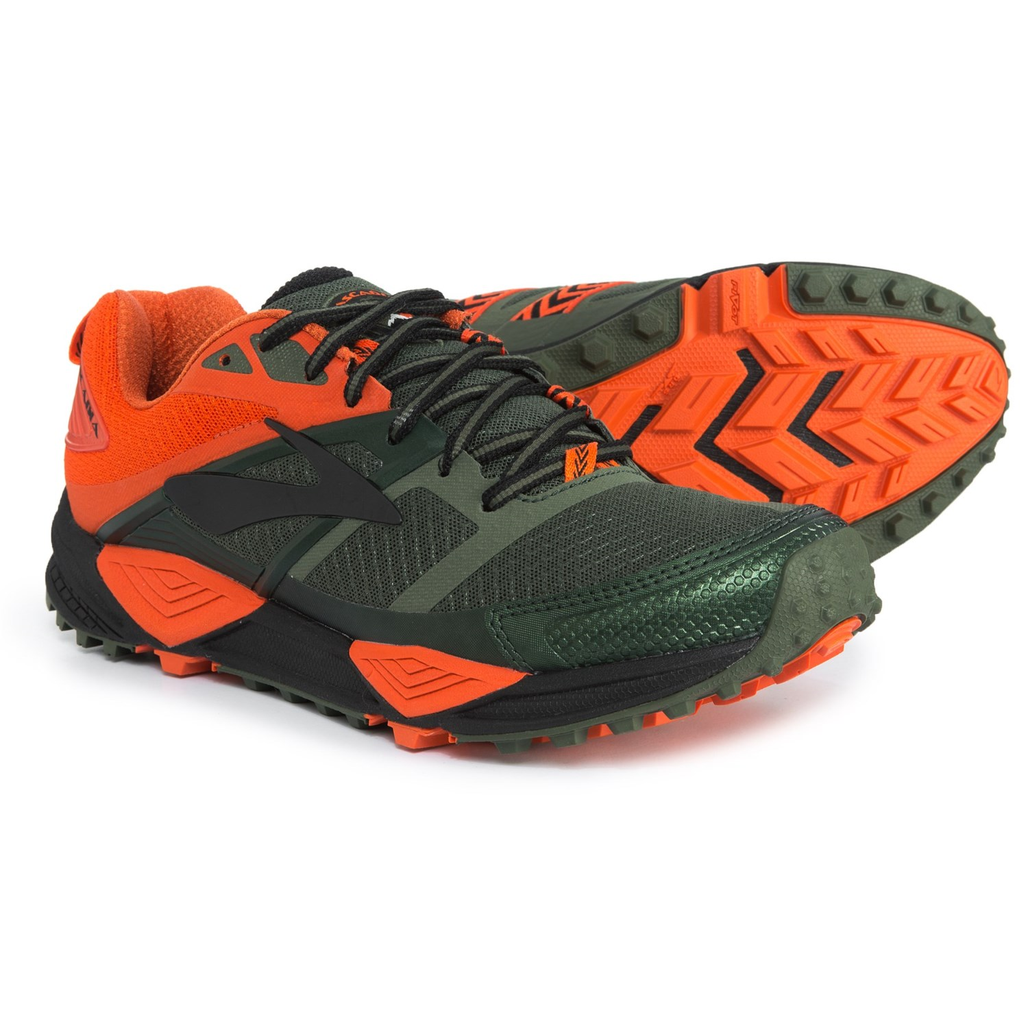 Brooks Cascadia 12 Trail Running Shoes (For Men) in Green Orange Black 4c5bc5f4a44