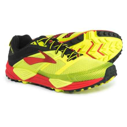 Brooks Cascadia 12 Trail Running Shoes (For Men) in Lime Popsicle/Toreador/Black - Closeouts