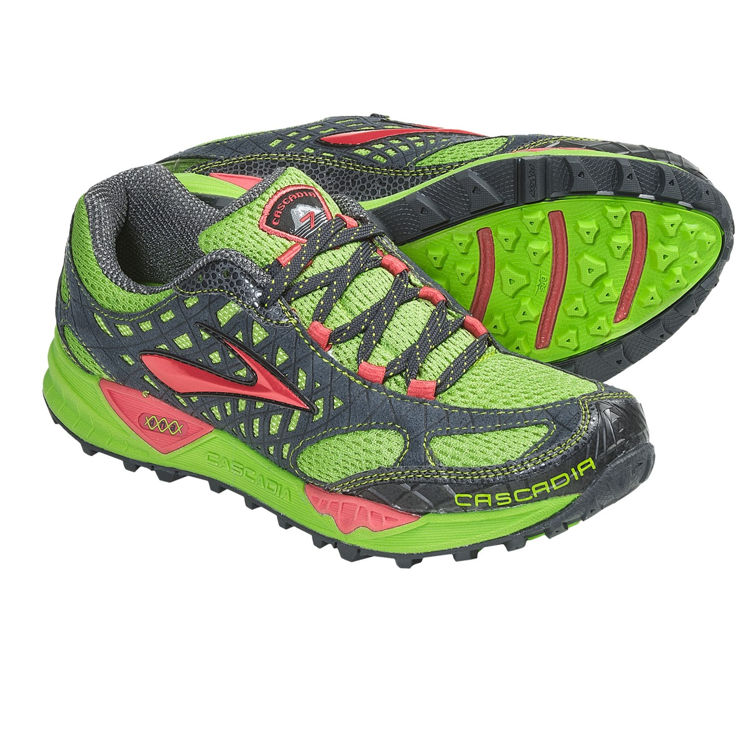 Brooks Cascadia 7 Trail Running Shoes (For Women) in Greenery/Cayenne