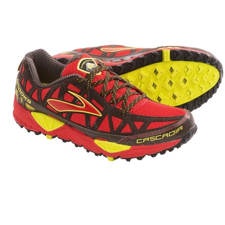 Brooks Cascadia 8 Trail Running Shoes (For Men) in High Risk Red/Java/Nightlife/Black